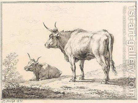 Two Cows, One Lying, One Standing by Hendrik Voogd - Reproduction Oil Painting