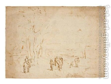 Landscape With Travellers by (after) Jan The Elder Brueghel - Reproduction Oil Painting
