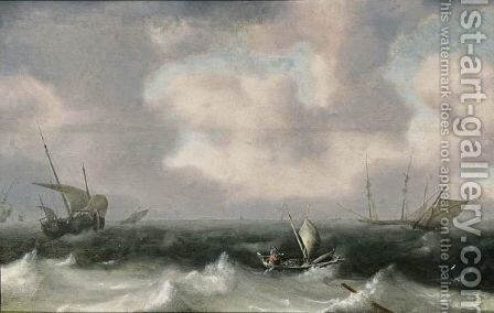 Fishing Boats In Stormy Seas, A Distant View Of A Town by Hendrik van Anthonissen - Reproduction Oil Painting