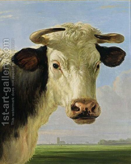 A Head Of A Bull With A View Over An Extensive Landscape Looking Towards The Grote Kerk Of Dordrecht by (after) Jacob Van Strij - Reproduction Oil Painting