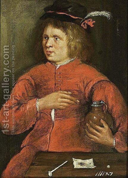 A Young Man Holding A Jug by Antwerp School - Reproduction Oil Painting