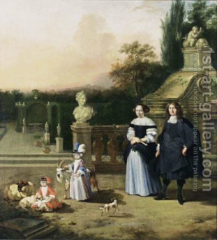 A Portrait Of A Gentleman And His Wife, Both Standing Full-Length With Their Two Children Playing With A Goat And Sheep, Together With A Dog, All In A Garden Setting by (after) Barent Graat - Reproduction Oil Painting