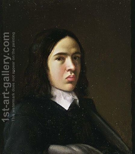 A Portrait Of A Young Man, Bust Length, Wearing A Black Suit With White Collar by (after) Michiel Sweerts - Reproduction Oil Painting
