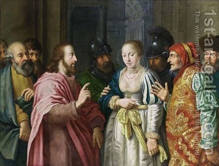 Christ And The Adulterous Woman by Dutch School - Reproduction Oil Painting