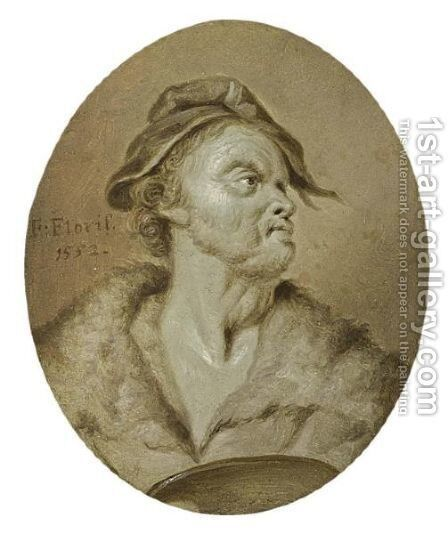 A Portrait Of The Painter Frans Floris (1519-20-1570), Bust Length by Jan Stolker - Reproduction Oil Painting