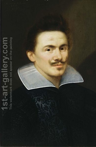 A Portrait Of A Man, Aged 28, Bust Length, Wearing A Black Costume With White Collar by Gortzius Geldorp - Reproduction Oil Painting