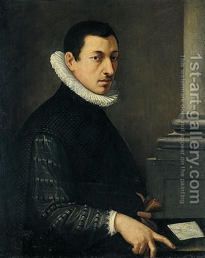 Portrait Of A Gentleman, Wearing A Black Embroidered Jacket And A White Ruff Holding A Pair Of Gloves by (after) Alessandro Allori - Reproduction Oil Painting