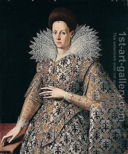 Portrait Of A Lady, Three-Quarter Length, Wearing A Richly Embroidered Dress And Lace Collar by (after) Santi Di Tito - Reproduction Oil Painting