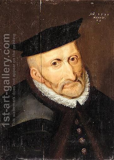 Portrait Of An Elderly Gentleman, Head And Shoulders, Wearing A Black Fur-Lined Cloak And A Black Hat by South Netherlandish School - Reproduction Oil Painting