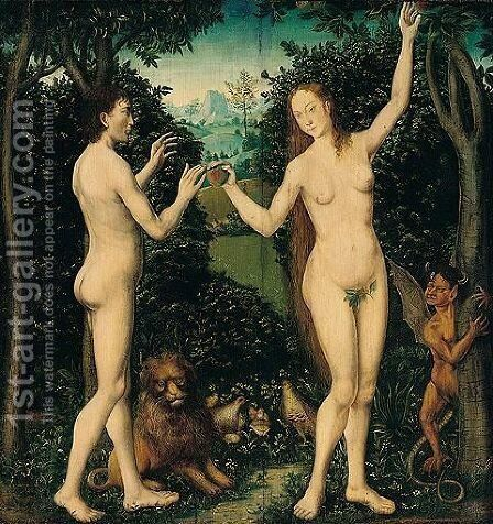 Adam And Eve In The Garden Of Eden - The Taking Of The Forbidden Fruit by (after) Lucas The Elder Cranach - Reproduction Oil Painting