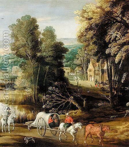 Landscape With Waggoners Beside A River, With A Village Beyond by (after) Joos De Momper - Reproduction Oil Painting
