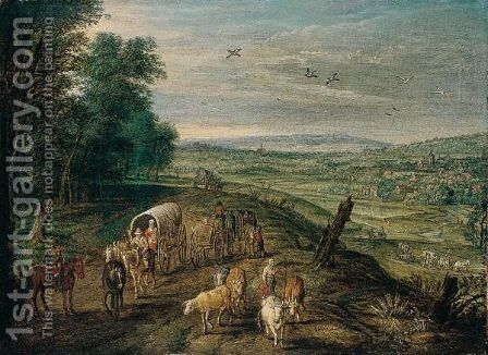 An Open Landscape With Waggoners And Drovers On A Track, A Town Beyond by Jan, the Younger Brueghel - Reproduction Oil Painting