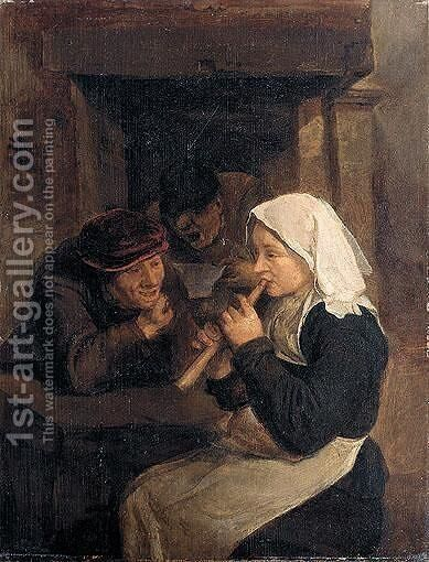An Interior With Peasants Singing And A Woman Playing A Recorder Before A Fireplace by Harmen Hals - Reproduction Oil Painting