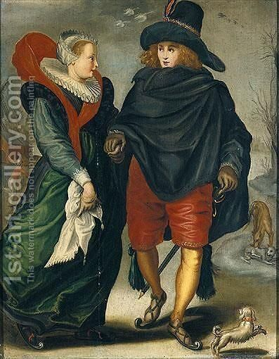 A Lady And A Gentleman Skating In A Winter Landscape by (after) Adriaen Pietersz. Van De Venne - Reproduction Oil Painting