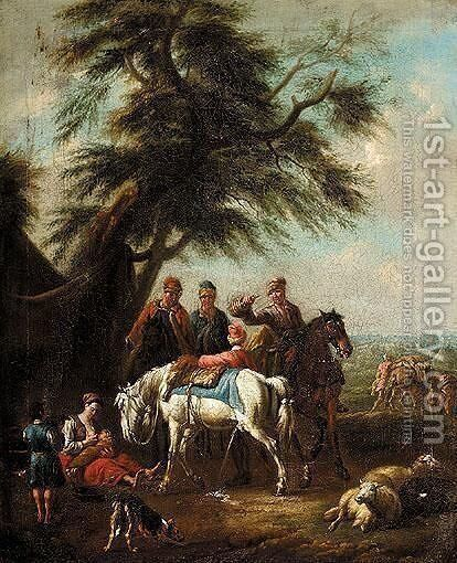 Landscape With Travellers And Horses Resting Under A Tree by (after) Pieter Van Bloemen - Reproduction Oil Painting