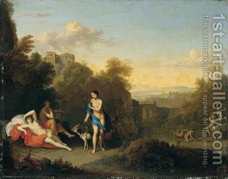 An Italianate Landscape With Diana And Her Nymphs Bathing And Resting by Daniel Vertangen - Reproduction Oil Painting