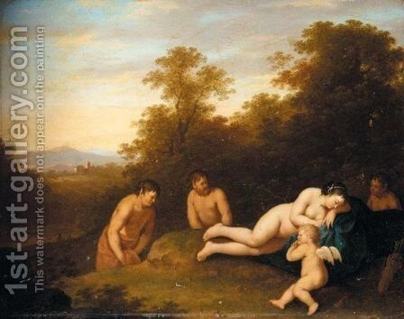 A Landscape With Venus And Cupid Surprised By Satyrs by Jan van Haensbergen - Reproduction Oil Painting