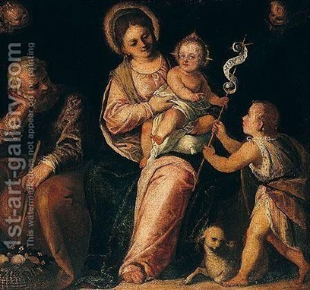 The Holy Family With The Infant Saint John The Baptist by (after) Paolo Veronese (Caliari) - Reproduction Oil Painting