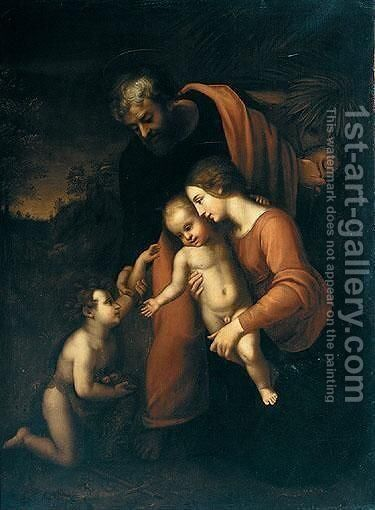 The Holy Family With The Infant Saint John The Baptist 2 by (after) Raphael (Raffaello Sanzio of Urbino) - Reproduction Oil Painting