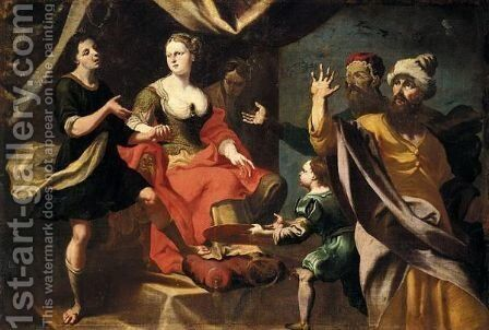 A Mythlogical Scene, Possibly Potiphar's Wife Accusing Joseph Before Her Husband by (after) Giuseppe Antonio Petrini - Reproduction Oil Painting