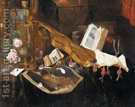 Vanitas Still Life With A Violin, A Recorder, A Pipe, An Almanach And Other Books Together On A Table by Dutch School - Reproduction Oil Painting