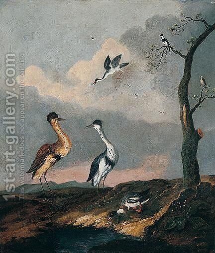 Wading Birds And A Mallard In A Dune Landscape by Dutch School - Reproduction Oil Painting