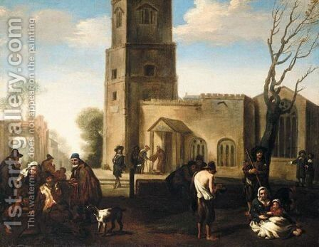 Figures Before A Church Distributing Alms To The Poor by (after) Jan Miel - Reproduction Oil Painting