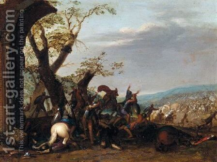 A Cavalry Battle, With An Army Being Routed by Italo-Flemish School - Reproduction Oil Painting