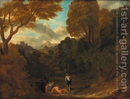 Italianate Landscape With A Classical Scene by (after) Pieter Andreas Rysbrack - Reproduction Oil Painting