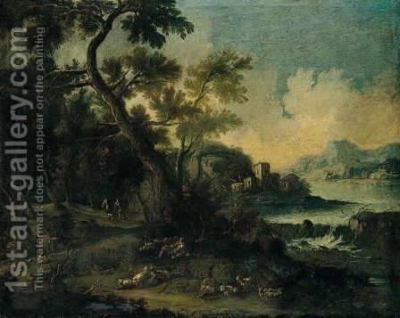 River Landscape With Shepherds And Their Flocks Resting Beside A Track by Catejan Roos - Reproduction Oil Painting