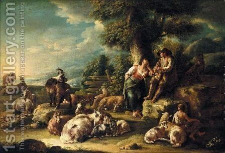 Landscape With A Shepherd Playing His Pipe And A Diarymaid, With Their Flock by Domenico Brandi - Reproduction Oil Painting