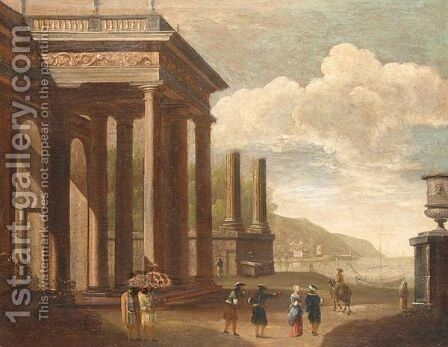 Harbour Scene With Figures Among Antique Ruins by (after) Alessandro Salucci - Reproduction Oil Painting