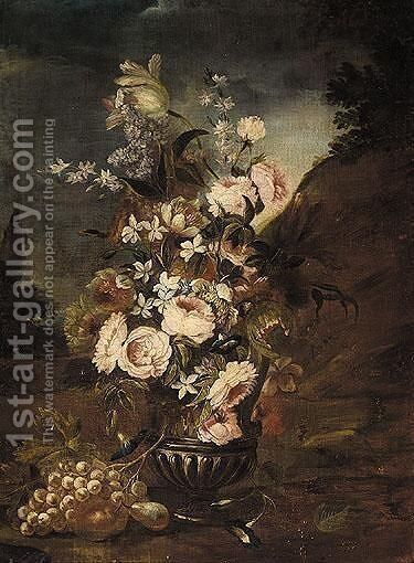 Still Life Of Roses, Lilies, And Other Flowers, In A Glass, Together With Some Some Grapes And A Pear In A Parkland Setting by Italian School - Reproduction Oil Painting