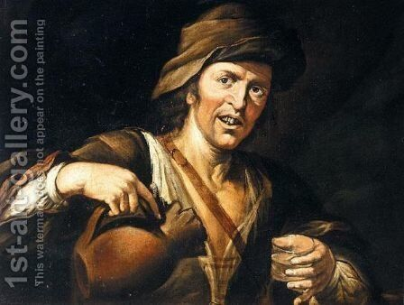 A Peasant Pouring A Glass Of Wine by (after) Giacomo Francesco Cipper - Reproduction Oil Painting