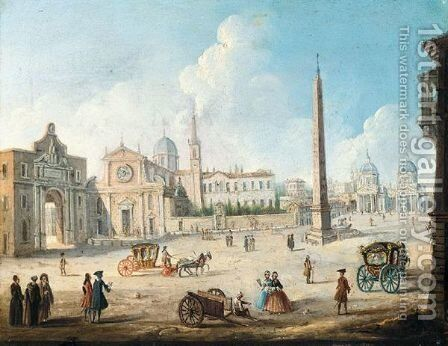 Rome, A View Of The Piazza Del Popolo, Taken From The South by (after) Caspar Andriaans Van Wittel - Reproduction Oil Painting