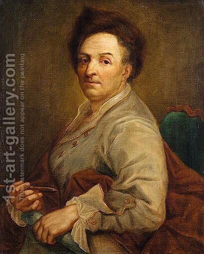 Portrait Of An Artist, Half Length, In A Grey Coat And A Fur Hat, Possibly A Self Portrait by (after) Mengs, Anton Raphael - Reproduction Oil Painting