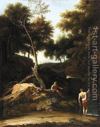 Italianate Landscape With Fishermen Beside A River by (after) Andrea Locatelli - Reproduction Oil Painting