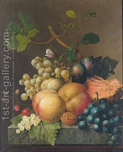 Still Life With Peaches, Plums, Strawberries, Grapes, A Walnut And A Melon On Stone Ledge by (after) Willem Van Leen - Reproduction Oil Painting