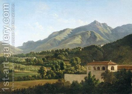 Italianate Landscape With With A Villa In The Foreground And Mountains Beyond by (after) Jean-Joseph-Xavier Bidauld - Reproduction Oil Painting