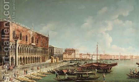 Venice, A View Of The Riva Degli Schiavoni, Looking East by (after) (Giovanni Antonio Canal) Canaletto - Reproduction Oil Painting