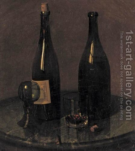 Still Life With Wine, Bottles And A Cigar by Christian Schmidt - Reproduction Oil Painting