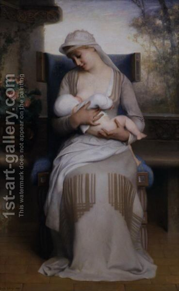 Young Mother Feeding Her Baby by Emile Lévy - Reproduction Oil Painting