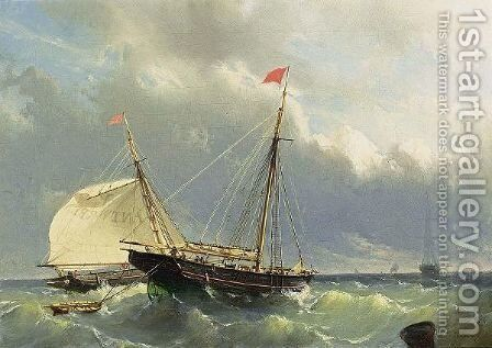 Shipping In A Stiff Breeze by Johan Conrad Greive - Reproduction Oil Painting
