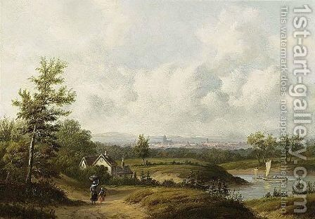 Travellers In A Summer Landscape by Carl Eduard Ahrendts - Reproduction Oil Painting