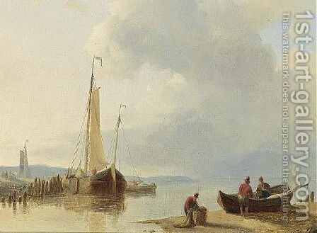Fishermen Bringing In The Nets by Abraham Hulk Jun. - Reproduction Oil Painting