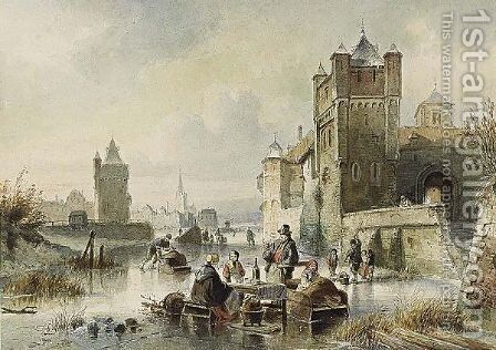 Numerous Figures On The Ice Near A Dutch Town by Jan Michael Ruyten - Reproduction Oil Painting