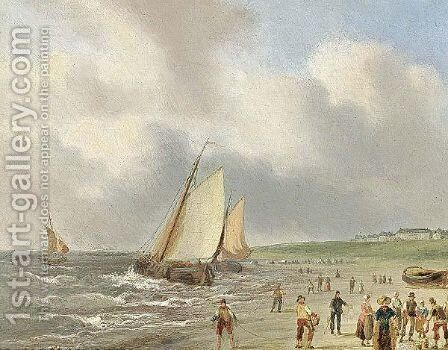La Plage A Scheveningue by Carl Eduard Ahrendts - Reproduction Oil Painting