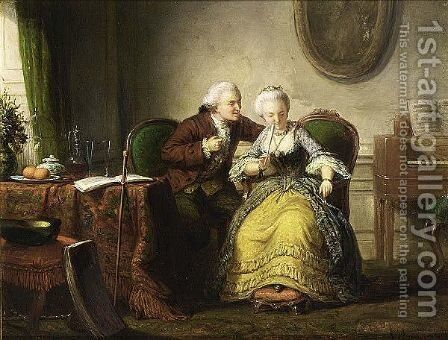 An Elegant Couple In An Interior by Andreas Scheerboom - Reproduction Oil Painting