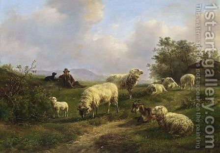 A Shepherd And His Flock At Rest by Jan Bedijs Tom - Reproduction Oil Painting