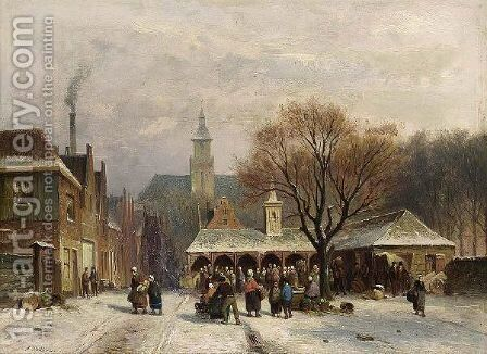 Villagers On A Town Square In Winter by Antonie Waldorp - Reproduction Oil Painting